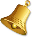 Gold bell tilted right